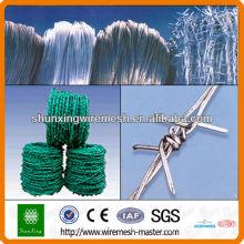 Колючая проволока с зеленым ПВХ покрытием
