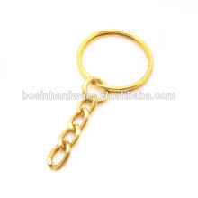 Moda de alta qualidade de metal banhado a ouro anel dividido com Cadeia de freio