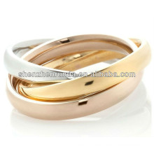 Stately Steel Stainless Unique Designs Tricolor Rolling Polished Ring 3 Runde Kreise Schmuck