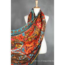Écharpe en soie imprimée de polyester de viscose de coton de Madame Lady (YKY1022)