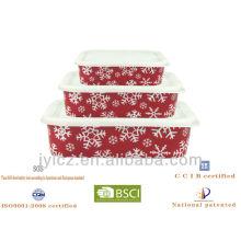 Christmass almacenamiento rectangular de alimentos con tapa de silicona, juego de 3