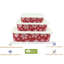christmass rectangular food storage with silicone lid, set of 3
