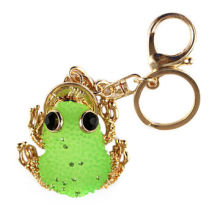 Frog Shaped Metal Keychain, Customized Designs Accept, Made of Alloy, Rhinestone and Crystal