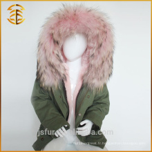 Factory Directly Supply Brand Enfants Vestes Blue Fur Parka