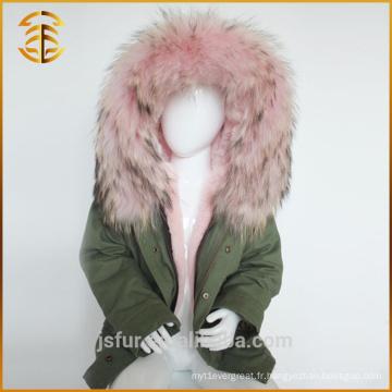 Factory Directly Supply Brand Enfants Vestes Blue Fur Parka
