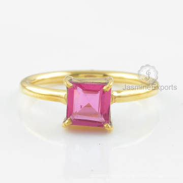 925 Silver Ring, Pink Tourmaline Quartz Gemstone Ring, 18k Gold Ring Jewelry