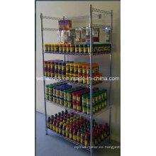 Estantería de exhibición revestida de epoxy del alambre de metal para el mercado y la sala de exposición
