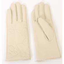 Lady Fashion Embroidery Sheepskin Leather Driving Gloves (YKY5166)