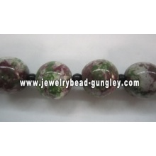 green dark red and white color mix ball shape ceramic beads