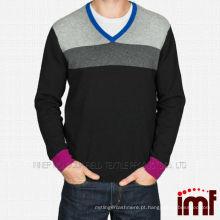 V-Neck Fancy camisola de lã para os homens