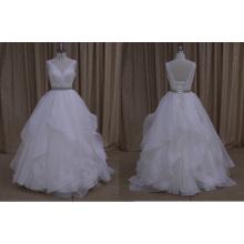 M804 alta qualidade plissada vestido de noiva de organza 2016