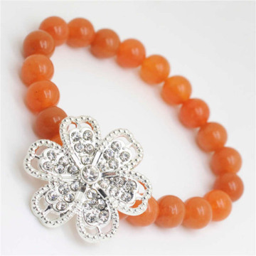 Red Aventurine Gemstone Bracelet with Diamante alloy Flower Piece