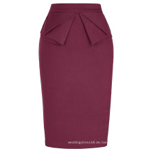 Grace Karin Frauen High Stretchy Hips-Wrapped Vintage Retro Wein Rot Bleistift Rock CL010454-4