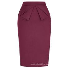 Высокое Грейс Карин женщин эластичный бедра-завернутый старинные Ретро вино Красный юбка-карандаш CL010454-4
