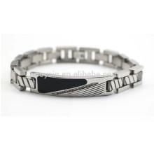 Diamante esmalte metal etiqueta pulsera para hombres