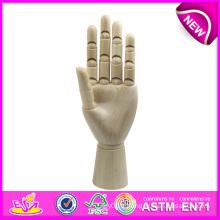 Modèle de main d'artiste en bois de nouveau produit, modèle en bois flexible de main de mannequin, modèle en bois de haute qualité de la main W06D042-a