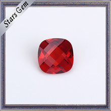 Beautiful Garnet Red Double Checker Cut Cushion Beads for Jewelry