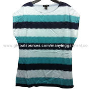 Women's t-shirts, mixed stripes sublimation printing, round neck swing sleeve, OEM serviceNew