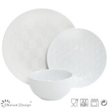 18PCS Lozenge Shape Debossed juego de cena de cerámica