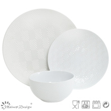 18PCS Lozenge Shape Debossed Ceramic Dinner Set