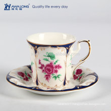 Rose Painting European Style Gorgeous Ceramic Bone China Coffee Cup And Saucer