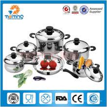 Set de utensilios de cocina de acero inoxidable con doble fondo 11 piezas