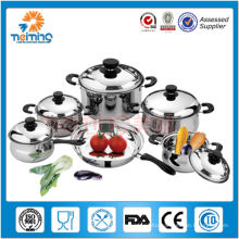 11pcs double bottom stainless steel cookware set