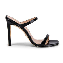Factory Customs Shoe Lady Slipper Sandals Guangdong Square Open Toe Leather Sole High Hoof Heel Patent Leather