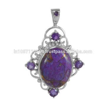 Лучшее сочетание фиолетовый меди бирюзовый и Аметист драгоценный камень с серебро ручной работы Кулон для подарка