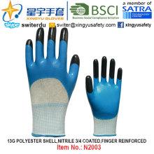 13G Polyester Shell Nitrile 3/4 Coated, Finger Reinforced Gloves (N2003) with CE, En388, En420, Work Gloves