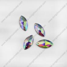 Navette Crystal Glass Jewelry Piedras para costura de zapatos