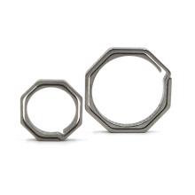 Porta-chaves de metal personalizado com anel octogonal de titânio portátil