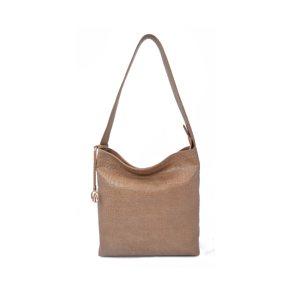 Embossed Real Leather Bucket Bag Women Hobo bag for Women