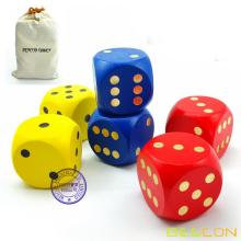 """Bescon Big Solid 2 inch Wooden Dice Set of 6pcs - Large Gaming Dice Set 2"""" with Drawstring Canvas Bag - Large Wood Dice Set"""