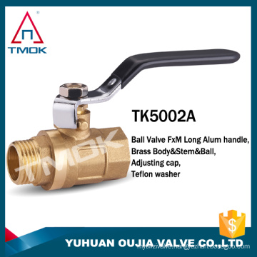 1/2 inch brass ball valve price with forged and lever handle CE brass body NPT thread in TMOK
