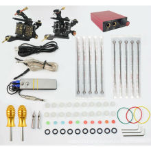 TK104002 Professional Tattoo Kit 2 Machines Gun Power Supply Foot Switch Needles Set KIt