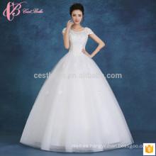 2017 vestido de bola inflable de moda de los applues del apagado-hombro adelgazan el vestido de bola hinchable barato más el vestido de boda del tamaño