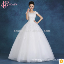 2017 fashionable lace appliues off-shoulder slim fit puffy ball gown cheap plus size wedding dress