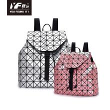 Geometric lingge backpack fashion hologram backpack leather
