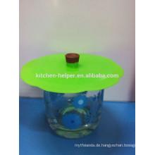 Nicht-toxische Umwelt-Silikon-Glas Tasse Deckel