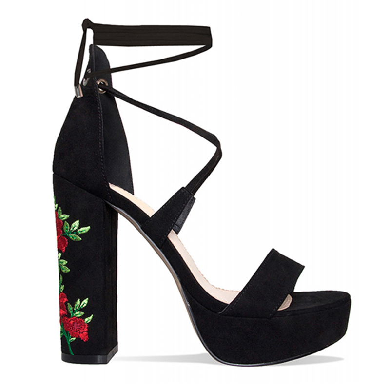 platform high chunky heels embroidered flower sandals