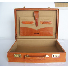 Real leather display case suitcase