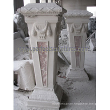 Stone Base Carved Marble Pedestal for Garden Ornament (BA069)