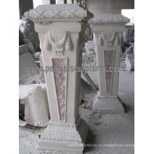 Каменная основа резного мраморного пьедестала для украшения сада (BA069)