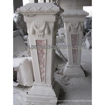 Stone Base Carved Marble Pedestal for Garden Ornament (BA069)