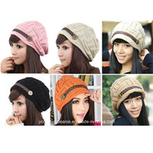 Stylish Plicate Baggy Beanie Women′s Winter Woolen Knitting Cap