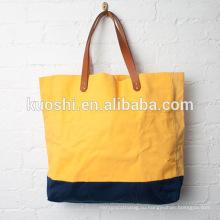 Холст сумки с кожаными