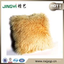 Housse de coussin en peau de mouton mongole en gros