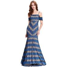 Kate Kasin Sexy correas Spaghetti largo azul vestido de fiesta de encaje 2016 KK000134-1