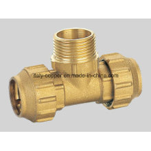 Customized Brass Forged Plated Compression End Male Tee (IC-7014)